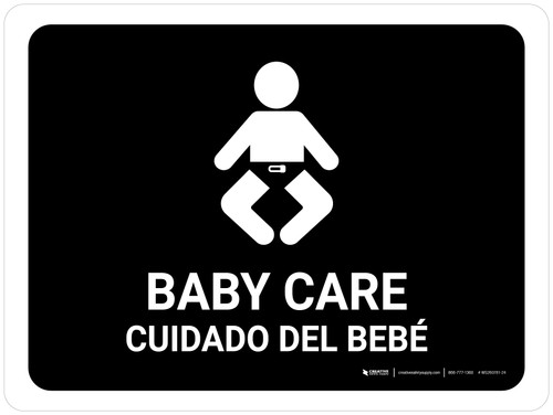 Baby Care Black Bilingual Landscape - Wall Sign