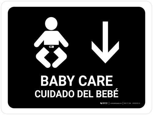 Baby Care With Down Arrow Black Bilingual Landscape - Wall Sign