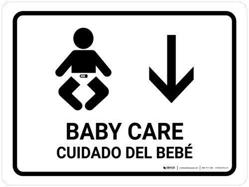 Baby Care With Down Arrow White Bilingual Landscape - Wall Sign