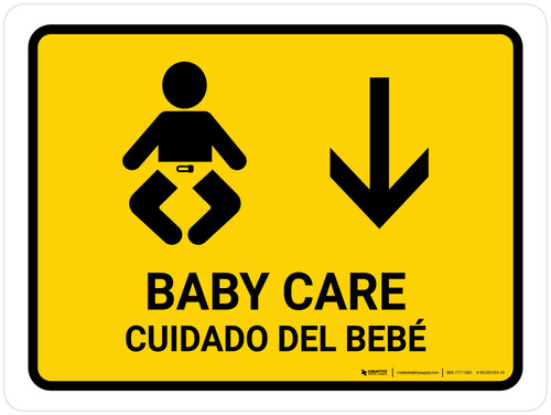 Baby Care With Down Arrow Yellow Bilingual Landscape - Wall Sign
