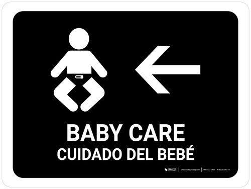 Baby Care With Left Arrow Black Bilingual Landscape - Wall Sign
