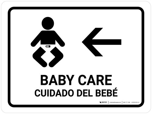 Baby Care With Left Arrow White Bilingual Landscape - Wall Sign