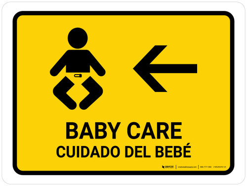 Baby Care With Left Arrow Yellow Bilingual Landscape - Wall Sign