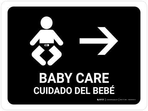 Baby Care With Right Arrow Black Bilingual Landscape - Wall Sign