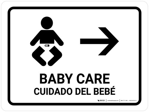 Baby Care With Right Arrow White Bilingual Landscape - Wall Sign