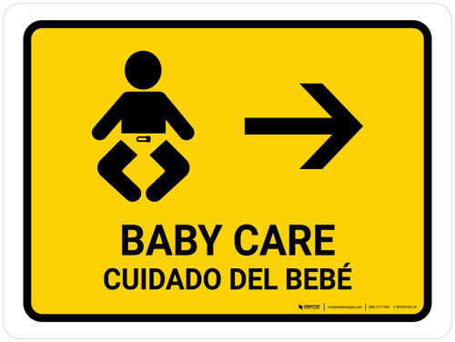 Baby Care With Right Arrow Yellow Bilingual Landscape - Wall Sign