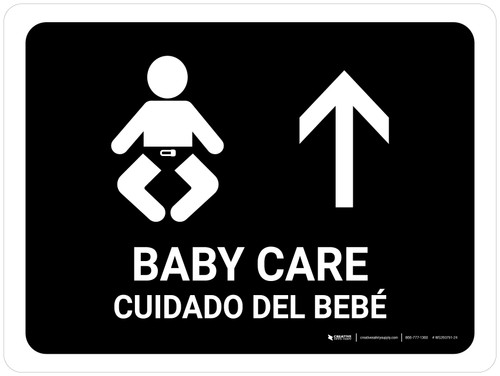 Baby Care With Up Arrow Black Bilingual Landscape - Wall Sign