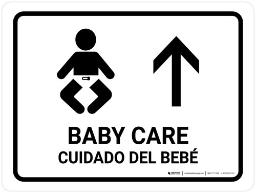 Baby Care With Up Arrow White Bilingual Landscape - Wall Sign
