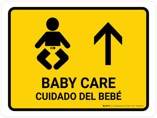 Baby Care With Up Arrow Yellow Bilingual Landscape - Wall Sign