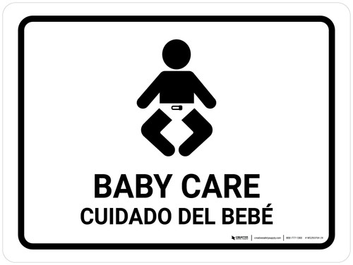 Baby Care White Bilingual Landscape - Wall Sign