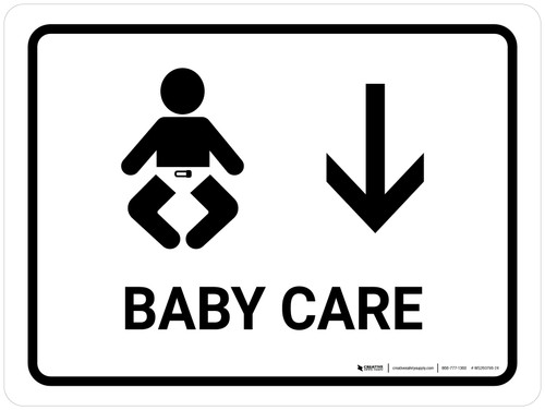 Baby Care With Down Arrow White Landscape - Wall Sign