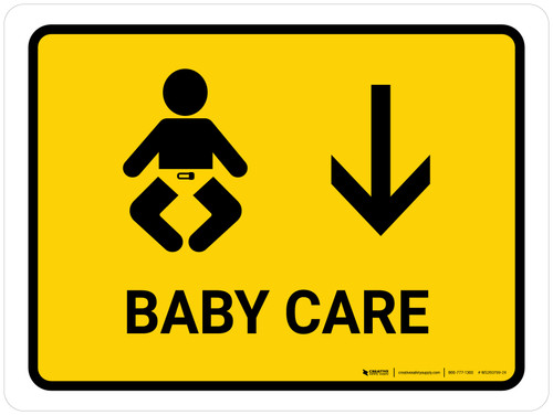 Baby Care With Down Arrow Yellow Landscape - Wall Sign