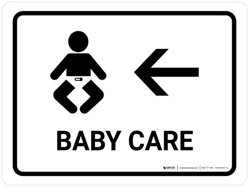 Baby Care With Left Arrow White Landscape - Wall Sign