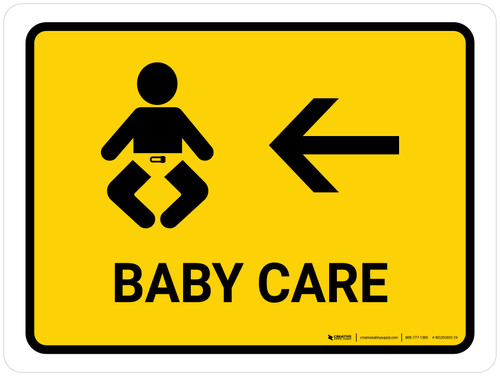 Baby Care With Left Arrow Yellow Landscape - Wall Sign