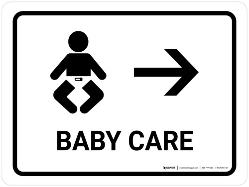 Baby Care With Right Arrow White Landscape - Wall Sign