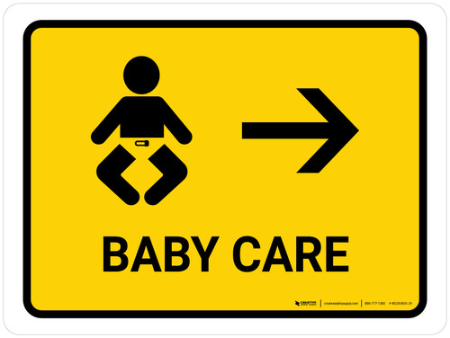 Baby Care With Right Arrow Yellow Landscape - Wall Sign