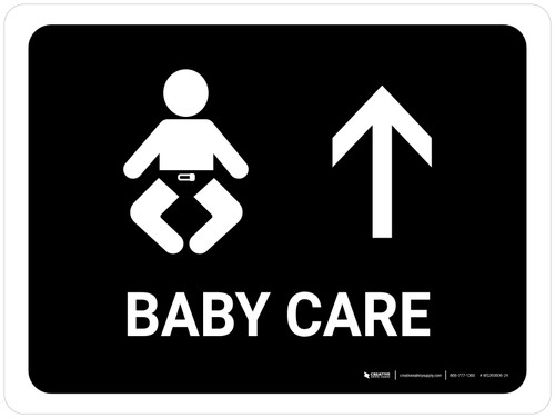 Baby Care With Up Arrow Black Landscape - Wall Sign