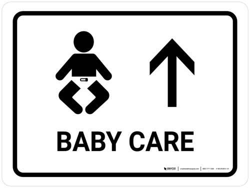 Baby Care With Up Arrow White Landscape - Wall Sign
