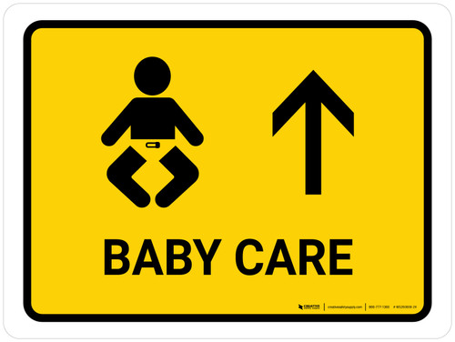 Baby Care With Up Arrow Yellow Landscape - Wall Sign