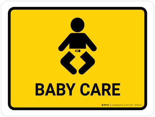 Baby Care Yellow Landscape - Wall Sign