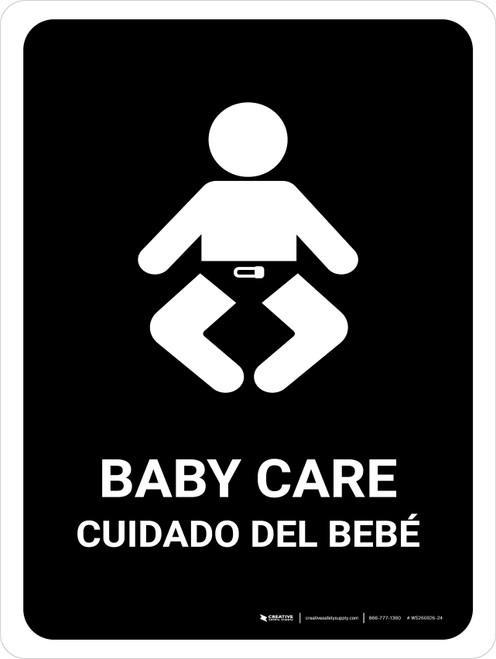 Baby Care Black Bilingual Portrait - Wall Sign