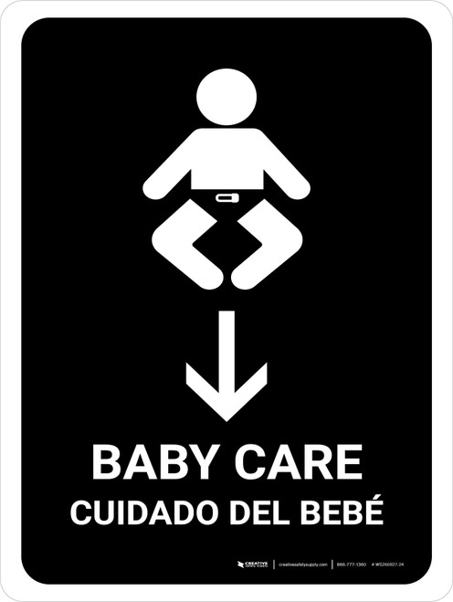 Baby Care With Down Arrow Black Bilingual Portrait - Wall Sign