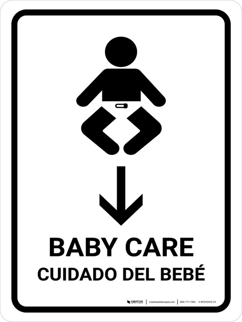 Baby Care With Down Arrow White Bilingual Portrait - Wall Sign