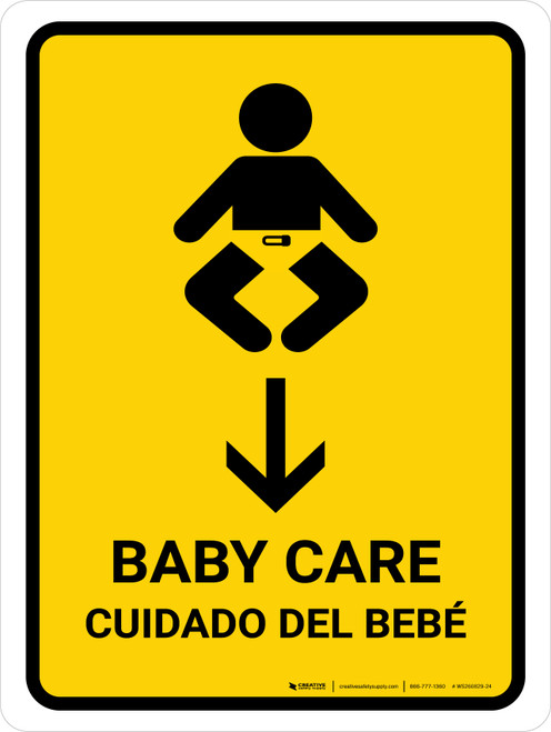 Baby Care With Down Arrow Yellow Bilingual Portrait - Wall Sign