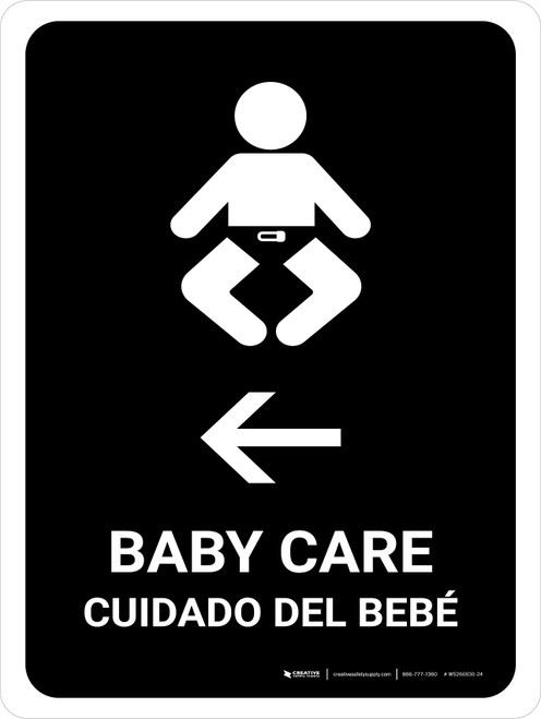 Baby Care With Left Arrow Black Bilingual Portrait - Wall Sign