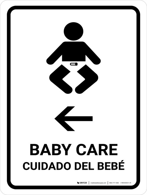 Baby Care With Left Arrow White Bilingual Portrait - Wall Sign