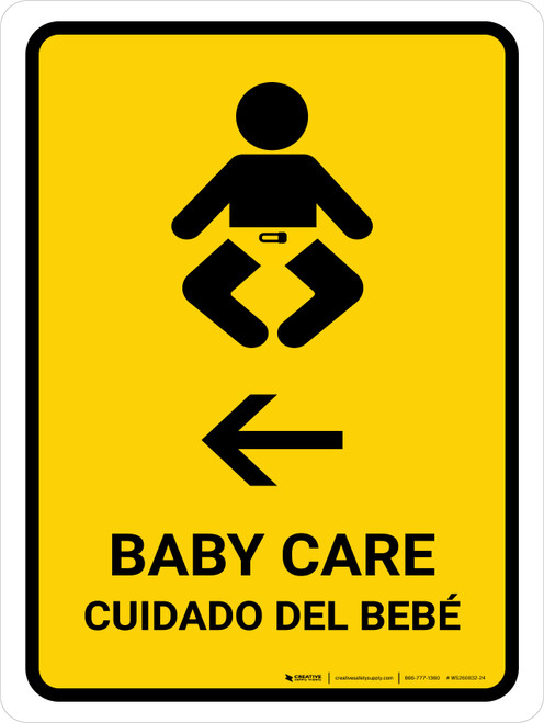 Baby Care With Left Arrow Yellow Bilingual Portrait - Wall Sign
