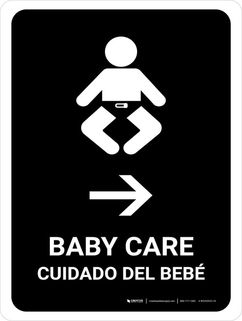Baby Care With Right Arrow Black Bilingual Portrait - Wall Sign