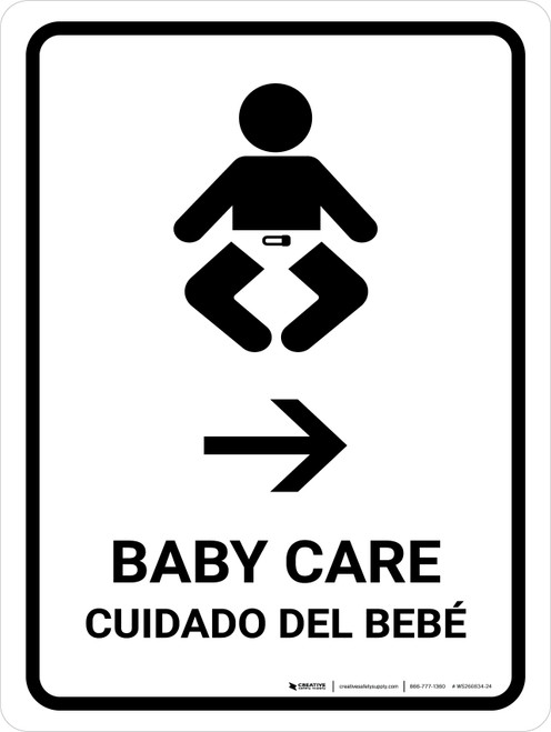 Baby Care With Right Arrow White Bilingual Portrait - Wall Sign