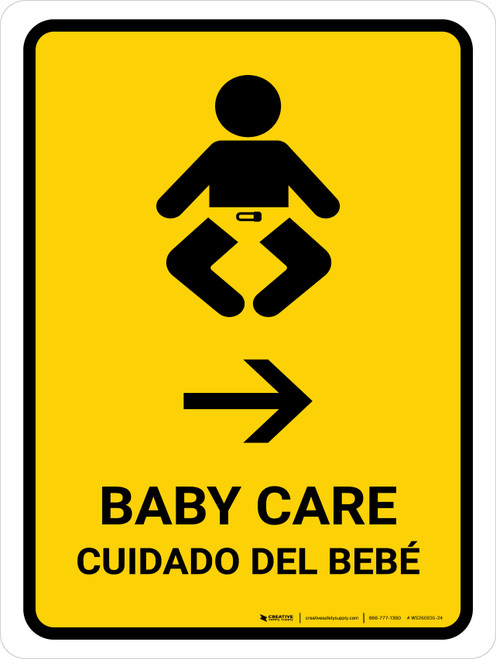 Baby Care With Right Arrow Yellow Bilingual Portrait - Wall Sign