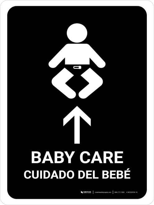 Baby Care With Up Arrow Black Bilingual Portrait - Wall Sign