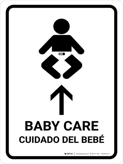 Baby Care With Up Arrow White Bilingual Portrait - Wall Sign