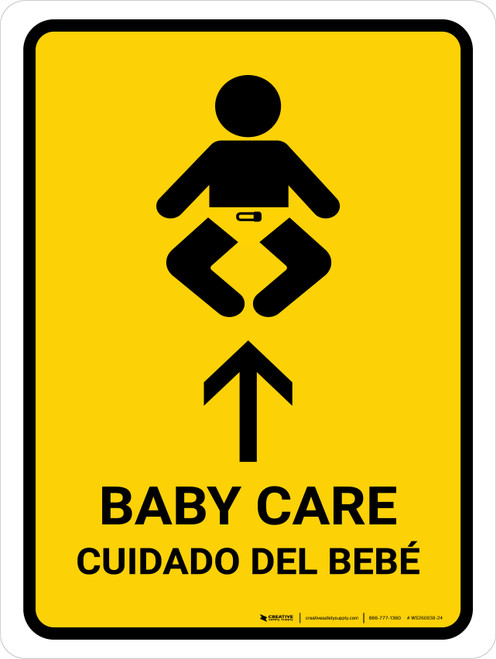 Baby Care With Up Arrow Yellow Bilingual Portrait - Wall Sign