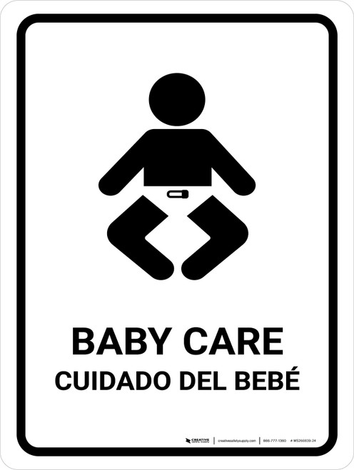 Baby Care White Bilingual Portrait - Wall Sign