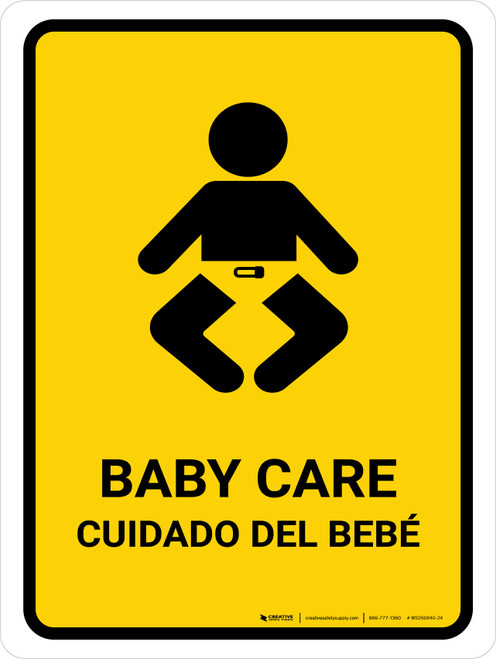 Baby Care Yellow Bilingual Portrait - Wall Sign