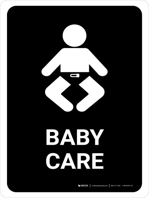 Baby Care Black Portrait - Wall Sign