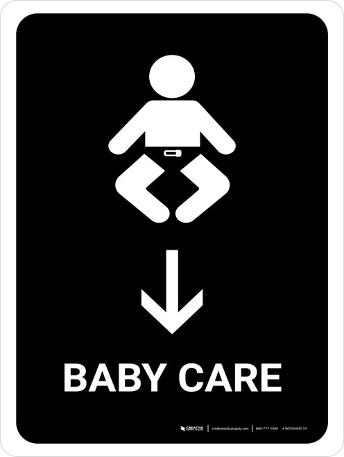 Baby Care With Down Arrow Black Portrait - Wall Sign