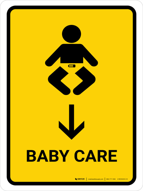 Baby Care With Down Arrow Yellow Portrait - Wall Sign