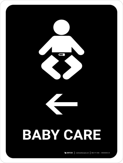 Baby Care With Left Arrow Black Portrait - Wall Sign