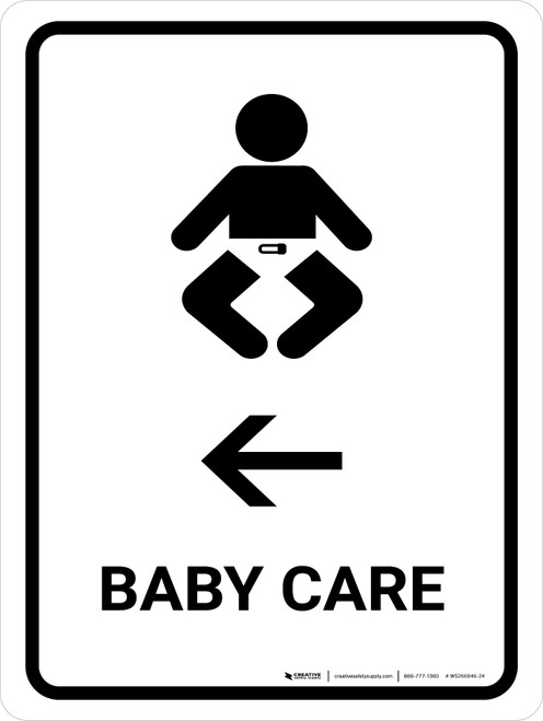 Baby Care With Left Arrow White Portrait - Wall Sign