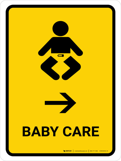 Baby Care With Right Arrow Yellow Portrait - Wall Sign