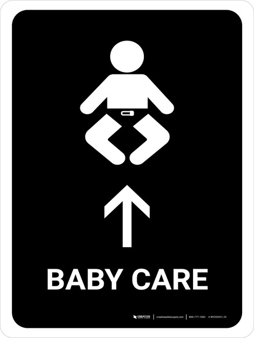Baby Care With Up Arrow Black Portrait - Wall Sign