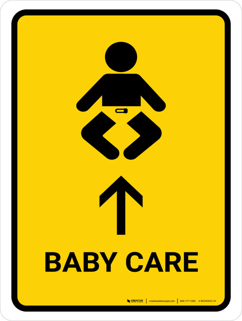 Baby Care With Up Arrow Yellow Portrait - Wall Sign