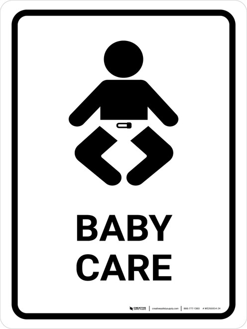 Baby Care White Portrait - Wall Sign