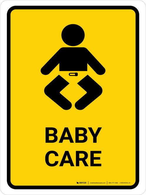 Baby Care Yellow Portrait - Wall Sign