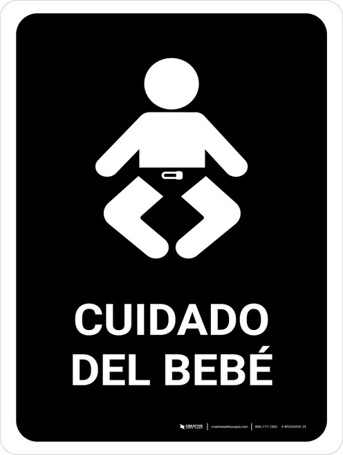 Baby Care Black Spanish Portrait - Wall Sign